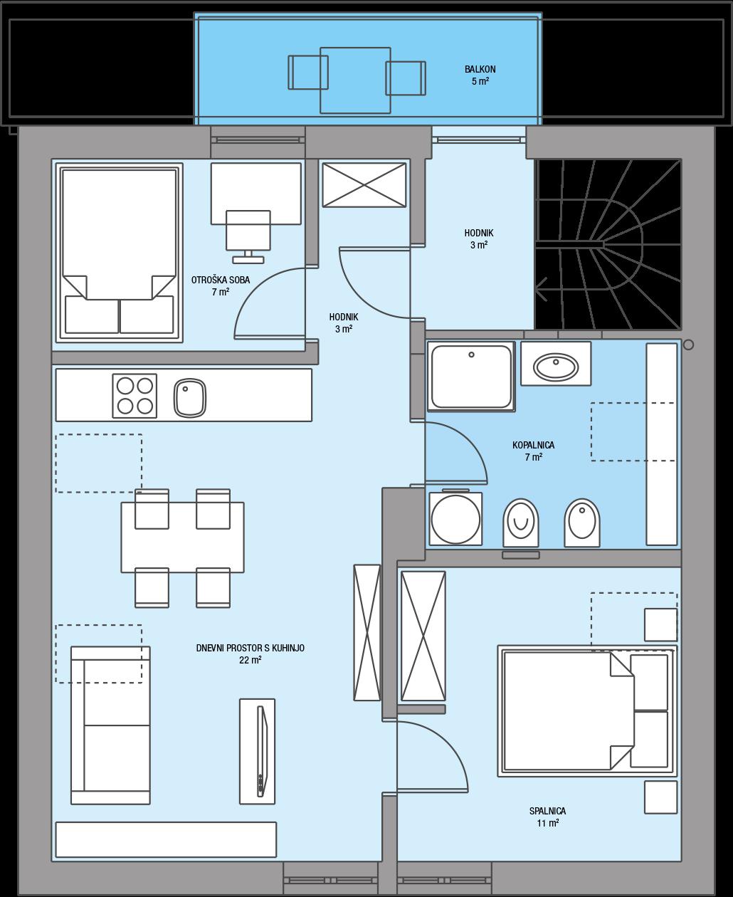 Stanovanjska hiša Domžale – Tloris mansarda